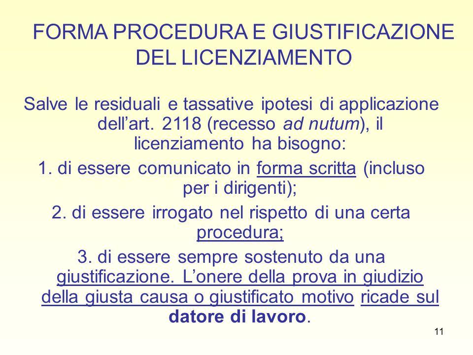 11 FORMA PROCEDURA E GIUSTIFICAZIONE DEL LICENZIAMENTO Salve le residuali e tassative ipotesi di applicazione dell'art.