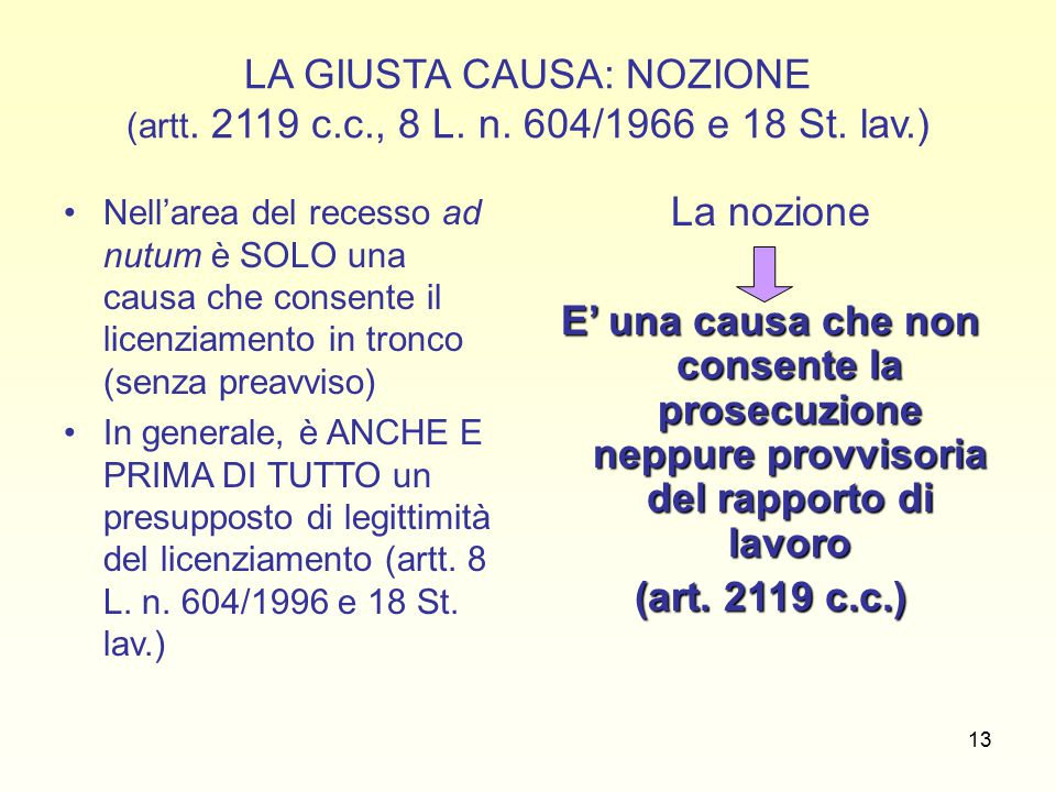 13 LA GIUSTA CAUSA: NOZIONE (artt. 2119 c.c., 8 L.