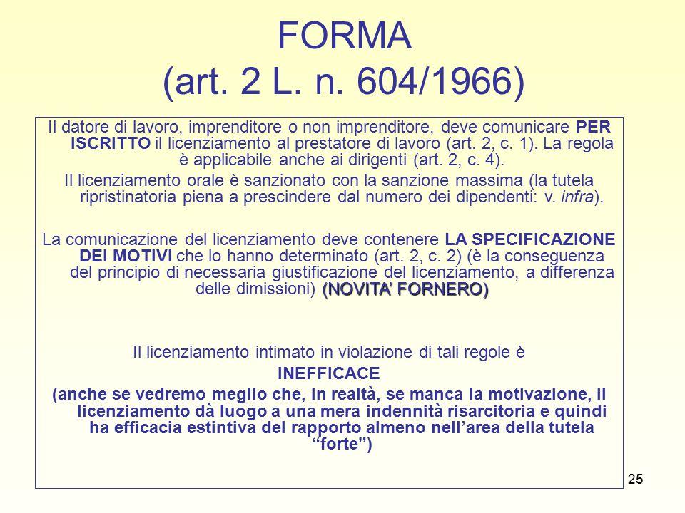 25 FORMA (art. 2 L. n.