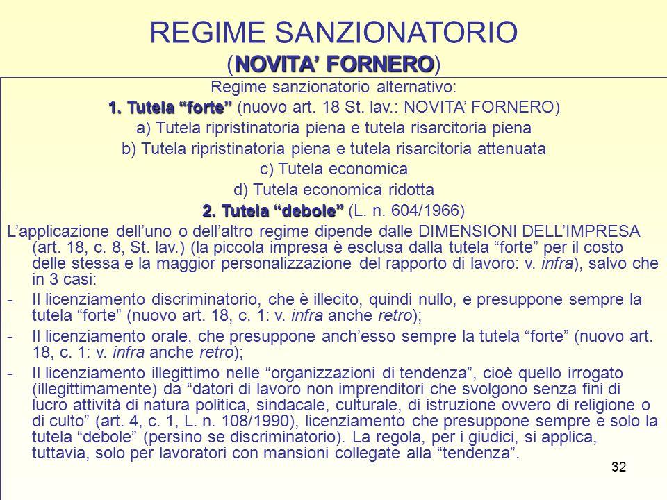 32 NOVITA' FORNERO REGIME SANZIONATORIO (NOVITA' FORNERO) Regime sanzionatorio alternativo: 1.