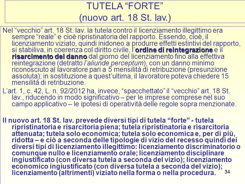 34 TUTELA FORTE (nuovo art. 18 St.