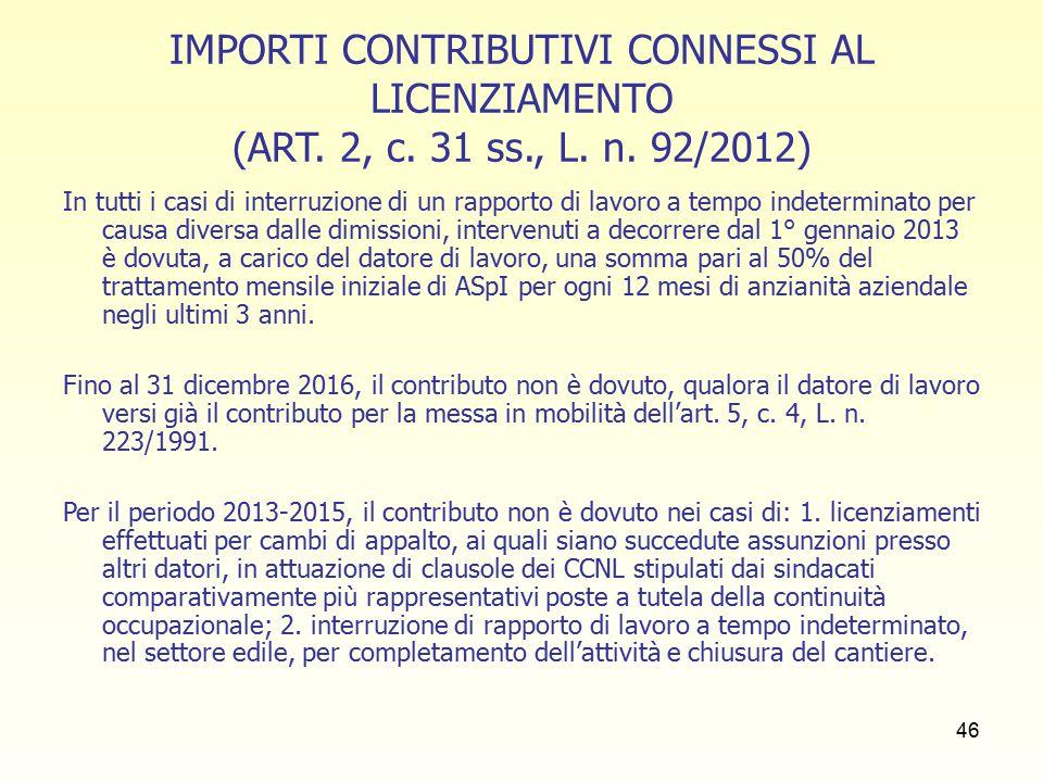 46 IMPORTI CONTRIBUTIVI CONNESSI AL LICENZIAMENTO (ART.