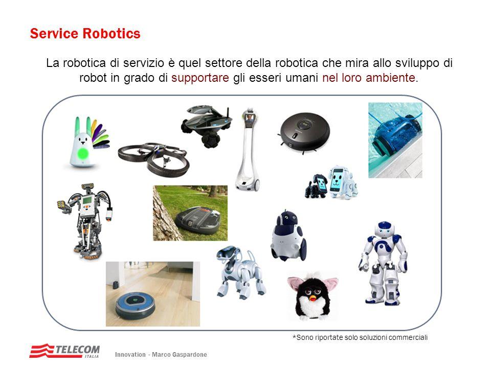 Service Robotics Innovation - Marco Gaspardone La robotica di servizio è quel settore della robotica che mira allo sviluppo di robot in grado di suppo