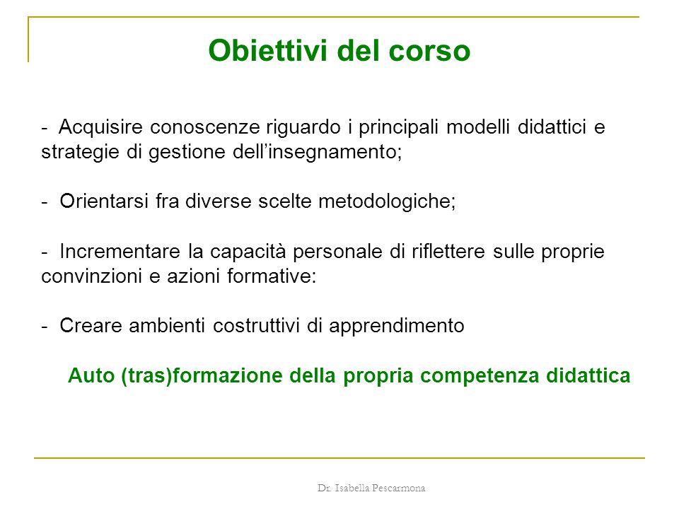 Obiettivi del corso - Acquisire conoscenze riguardo i principali modelli didattici e strategie di gestione dell'insegnamento; - Orientarsi fra diverse