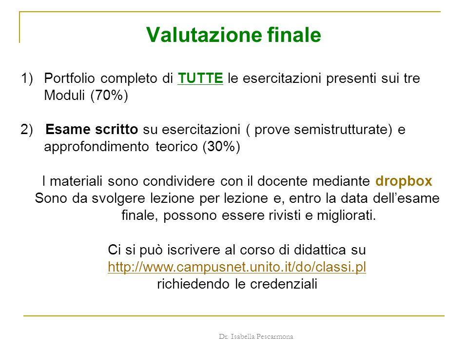 Valutazione finale 1)Portfolio completo di TUTTE le esercitazioni presenti sui tre Moduli (70%) 2) Esame scritto su esercitazioni ( prove semistruttur