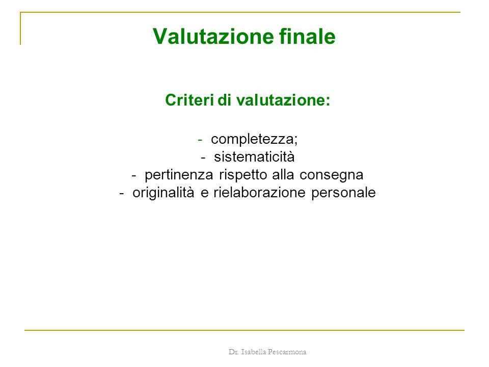 Valutazione finale Criteri di valutazione: - completezza; - sistematicità - pertinenza rispetto alla consegna - originalità e rielaborazione personale Dr.