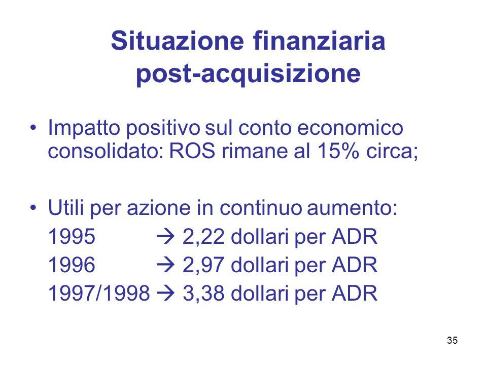 Profilo finanziario : dati in milioni di euro 19941995199619971998 Cash5029243136 Marketable securities 3049000 Bank overdraft(8)(54)(46)(100)(184) Current portion of long-term debt (1)(182)(169)(181)(179) Long-term debt(7)(617)(354)(417)(276) Net financial position 65(775)(647)(666)(604) 36