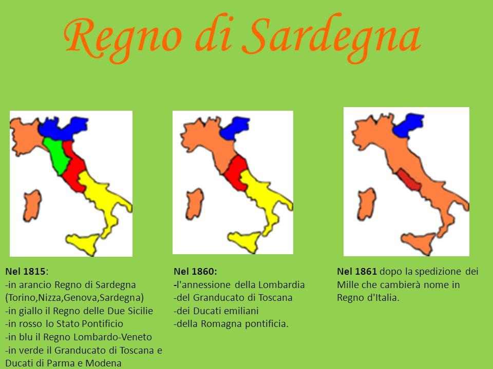 Il Regno di Sardegna nel 1850 Dopo i moti del '48: Statuto Albertino Massimo D'Azeglio Riformismo Leggi Siccardi Foro ecclesiastico – Diritto di asilo
