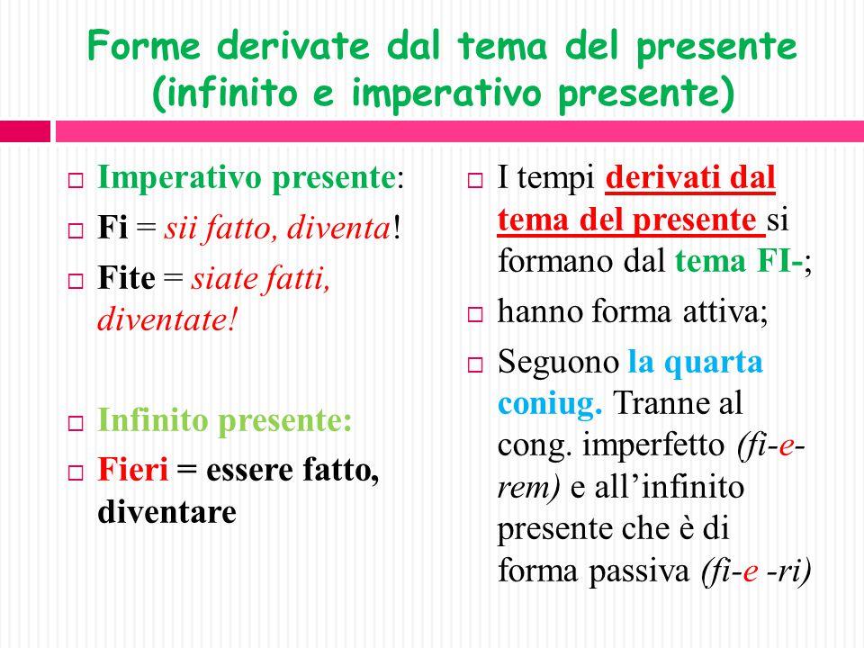 Tempi derivati dal presente (indicativo e congiuntivo)  Presente: fio, fis, ecc.= sono fatto, divento.  Imperfetto: fiebam, as, ero fatto, diventavo