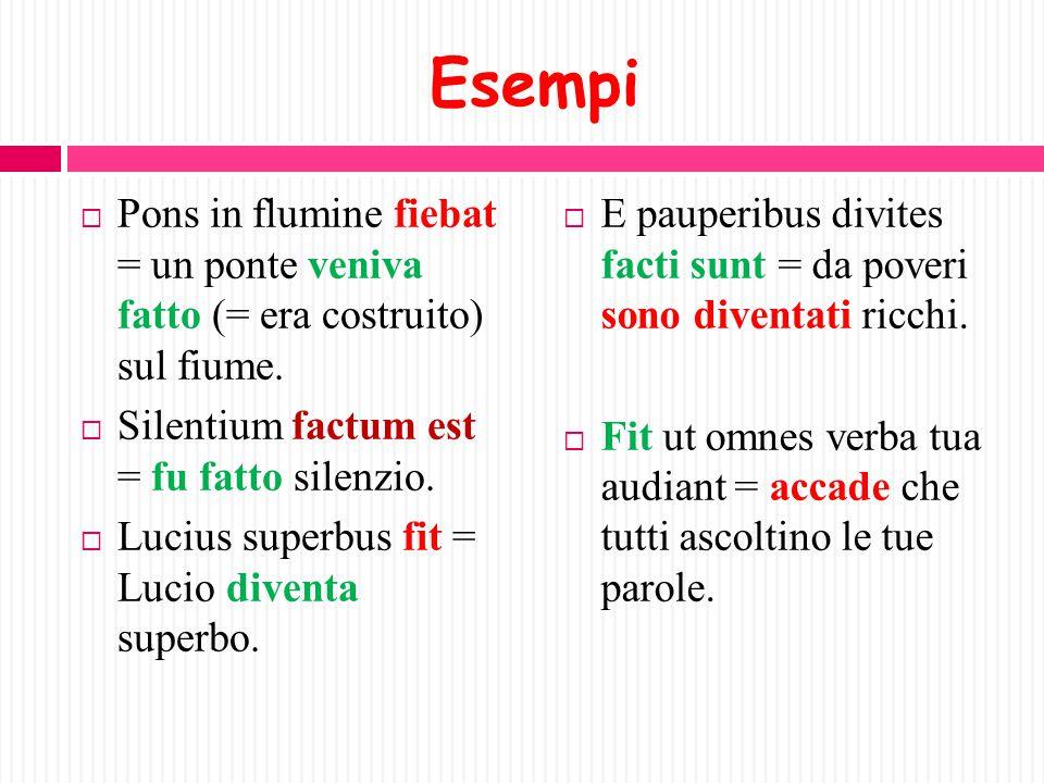 I tre significati fondamentali del verbo FIO  1)DIVENIRE, DIVENTARE (in tutte le forme, eccetto il gerundivo).  2)ESSERE FATTO (in tutte le forme, e