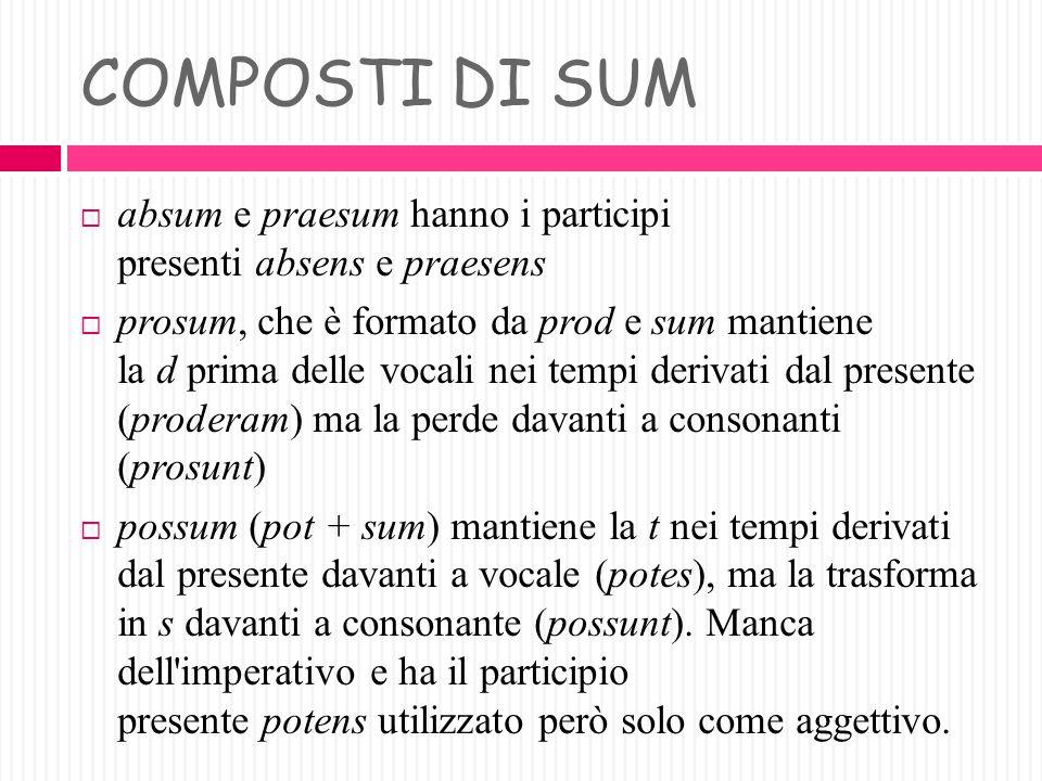 PRESENTEPERFETTOINFINITOSIGNIFICATO ITALIANO Absum, esafuiabesseEsser lontano, assente Adsum, esadfuiadesseEsser presente, assistere Desum, esdefuidee