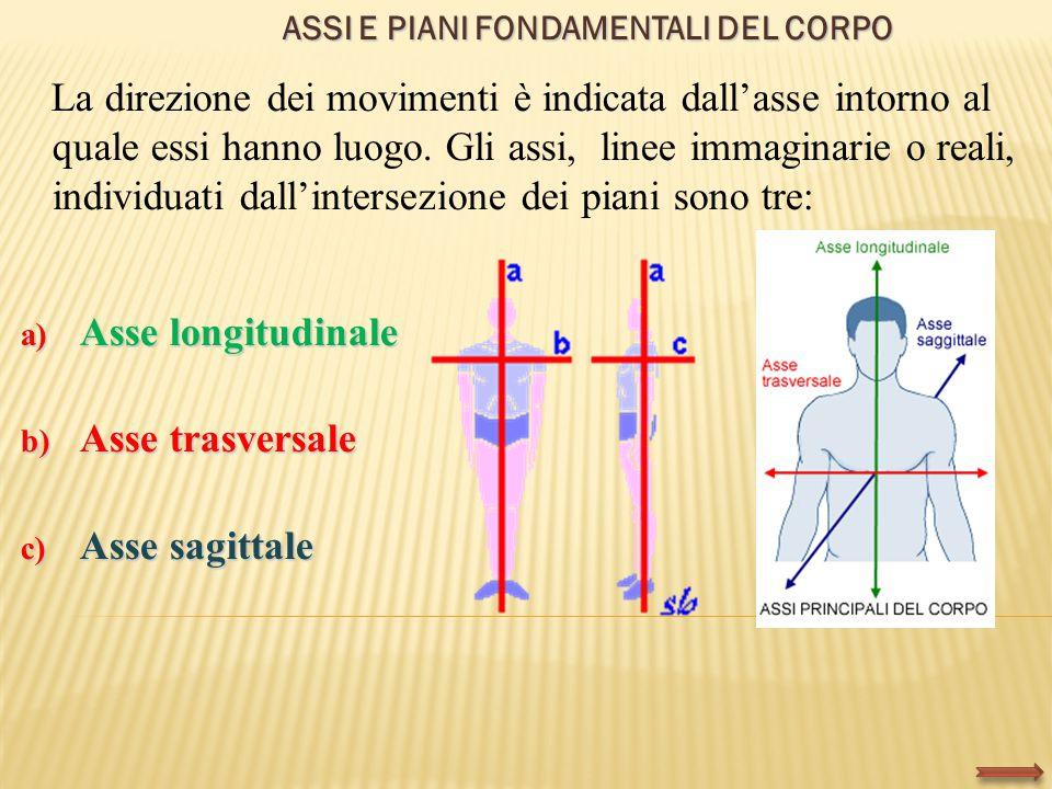 ASSI E PIANI FONDAMENTALI DEL CORPO La direzione dei movimenti è indicata dall'asse intorno al quale essi hanno luogo. Gli assi, linee immaginarie o r