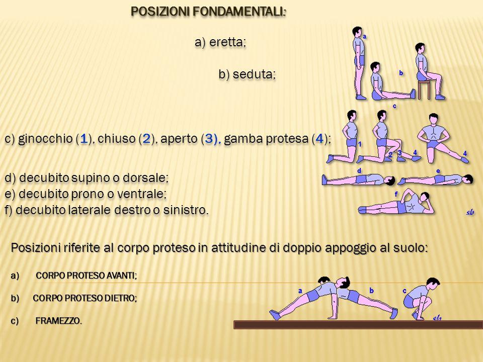POSIZIONI FONDAMENTALI : a) eretta; b) seduta; c) ginocchio (1), chiuso (2), aperto (3), gamba protesa (4); d) decubito supino o dorsale; e) decubito