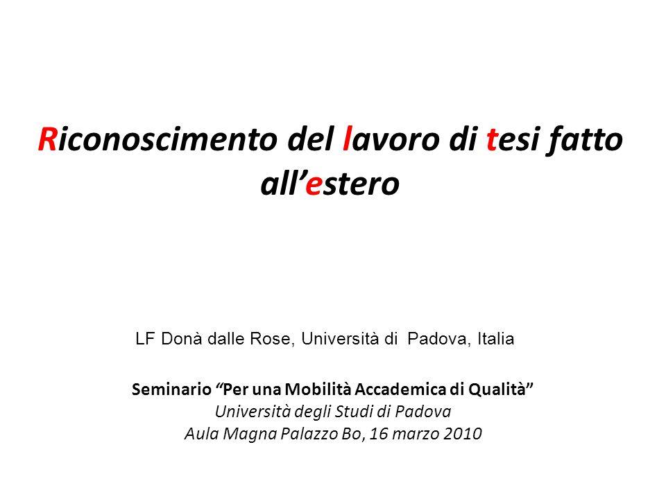 Università di Padova a.a. 2006-07 indagine di fine soggiorno