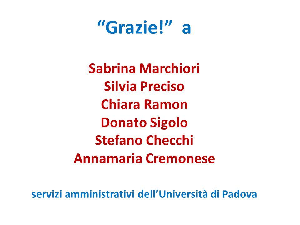 Grazie! a Sabrina Marchiori Silvia Preciso Chiara Ramon Donato Sigolo Stefano Checchi Annamaria Cremonese servizi amministrativi dell'Università di Padova