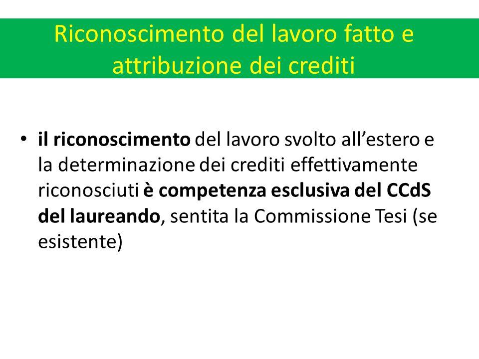 Riconoscimento del lavoro fatto e attribuzione dei crediti il riconoscimento del lavoro svolto all'estero e la determinazione dei crediti effettivamente riconosciuti è competenza esclusiva del CCdS del laureando, sentita la Commissione Tesi (se esistente)