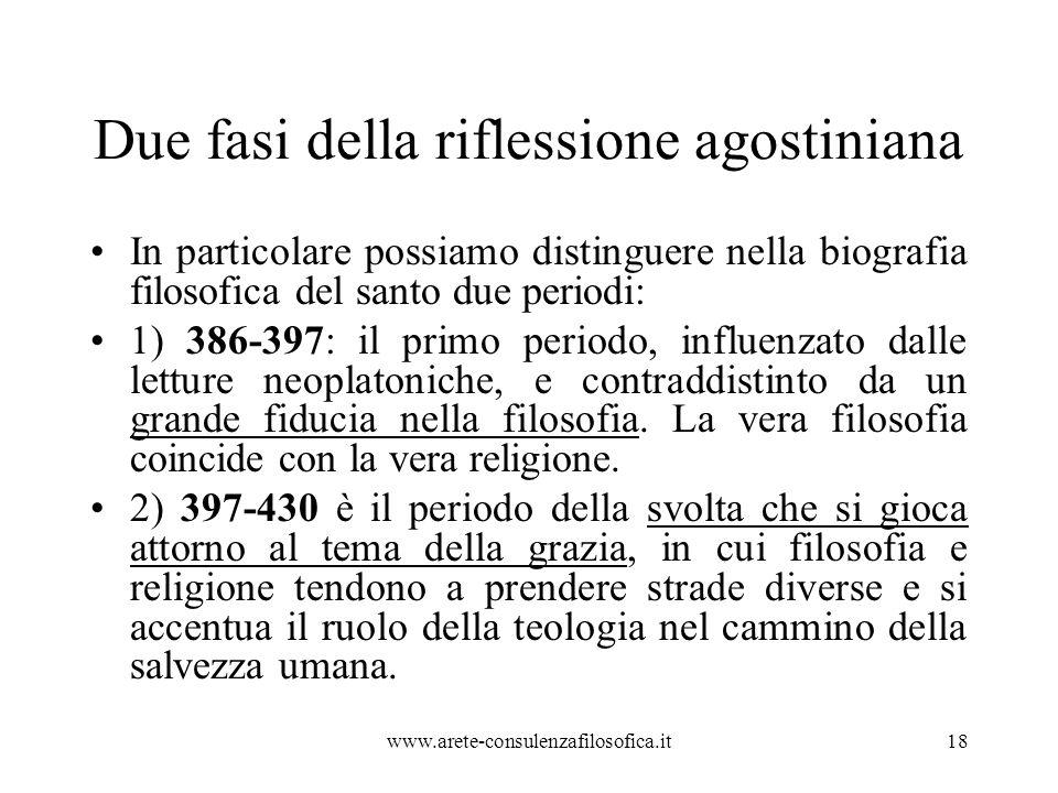 Due fasi della riflessione agostiniana In particolare possiamo distinguere nella biografia filosofica del santo due periodi: 1) 386-397: il primo periodo, influenzato dalle letture neoplatoniche, e contraddistinto da un grande fiducia nella filosofia.
