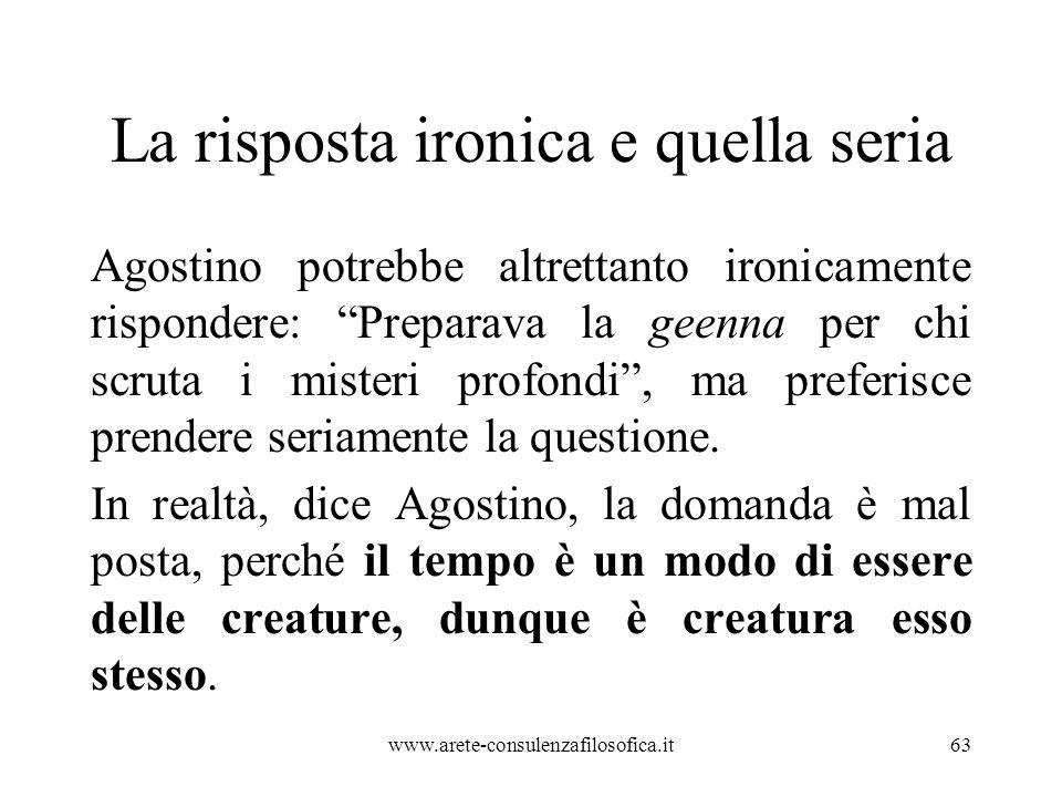 La risposta ironica e quella seria Agostino potrebbe altrettanto ironicamente rispondere: Preparava la geenna per chi scruta i misteri profondi , ma preferisce prendere seriamente la questione.
