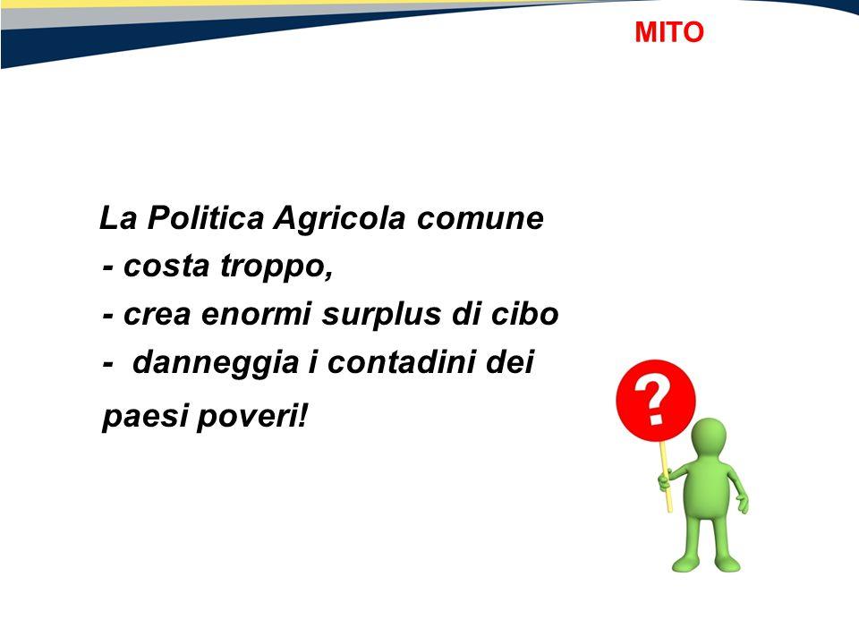 La Politica Agricola comune - costa troppo, - crea enormi surplus di cibo - danneggia i contadini dei paesi poveri! MITO