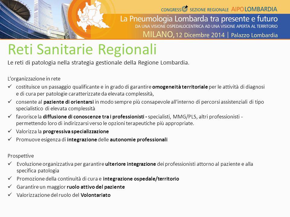 Reti Sanitarie Regionali Le reti di patologia nella strategia gestionale della Regione Lombardia. L'organizzazione in rete costituisce un passaggio qu