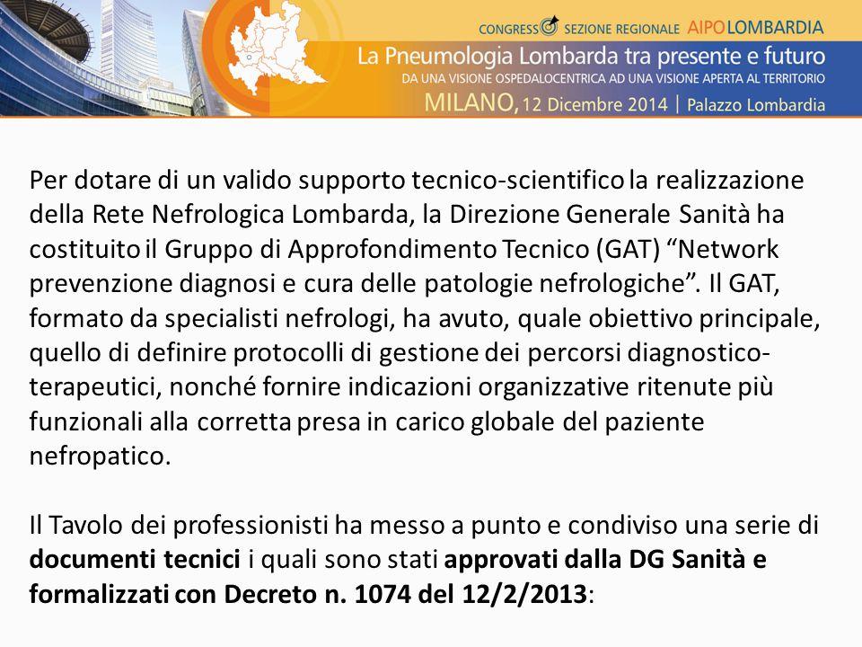 Per dotare di un valido supporto tecnico-scientifico la realizzazione della Rete Nefrologica Lombarda, la Direzione Generale Sanità ha costituito il Gruppo di Approfondimento Tecnico (GAT) Network prevenzione diagnosi e cura delle patologie nefrologiche .
