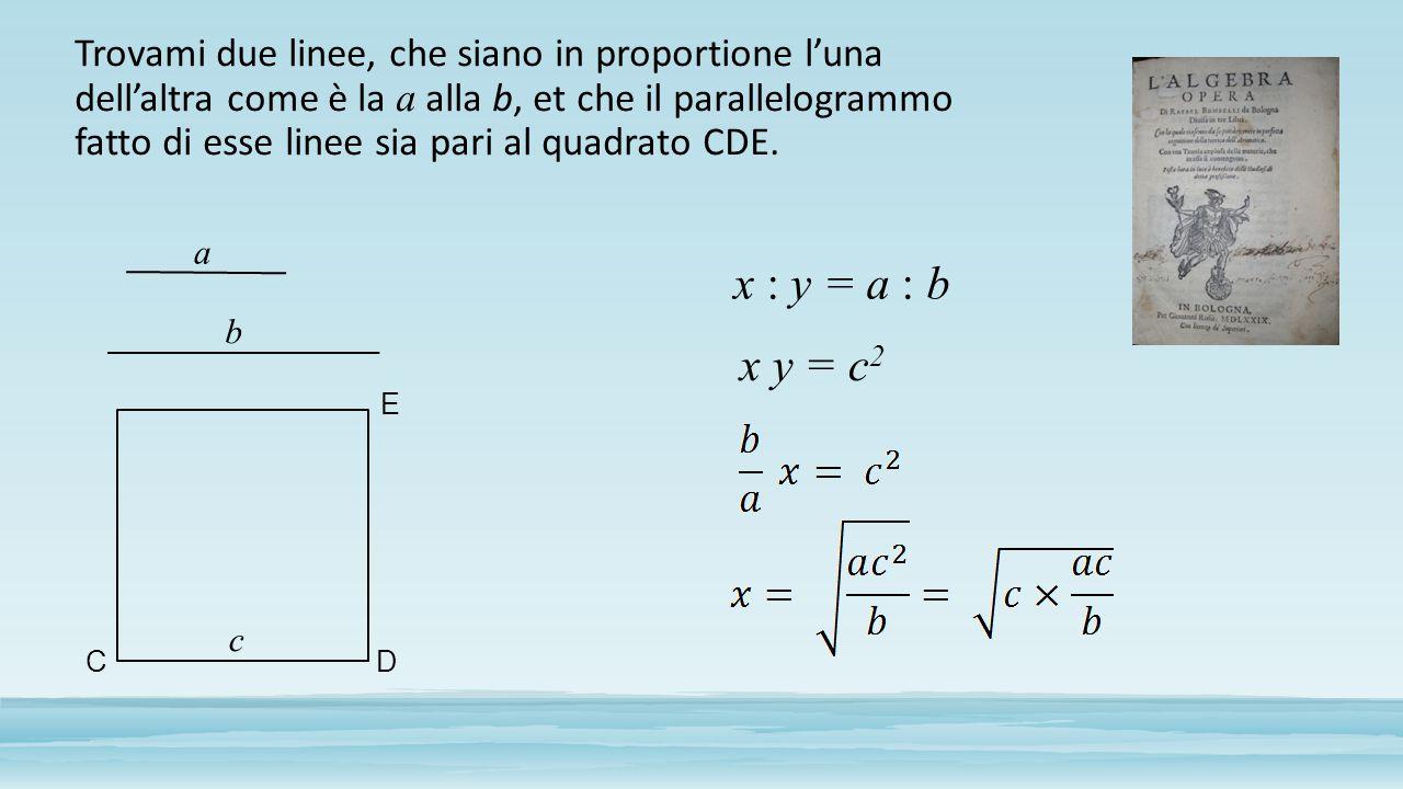 Trovami due linee, che siano in proportione l'una dell'altra come è la a alla b, et che il parallelogrammo fatto di esse linee sia pari al quadrato CD