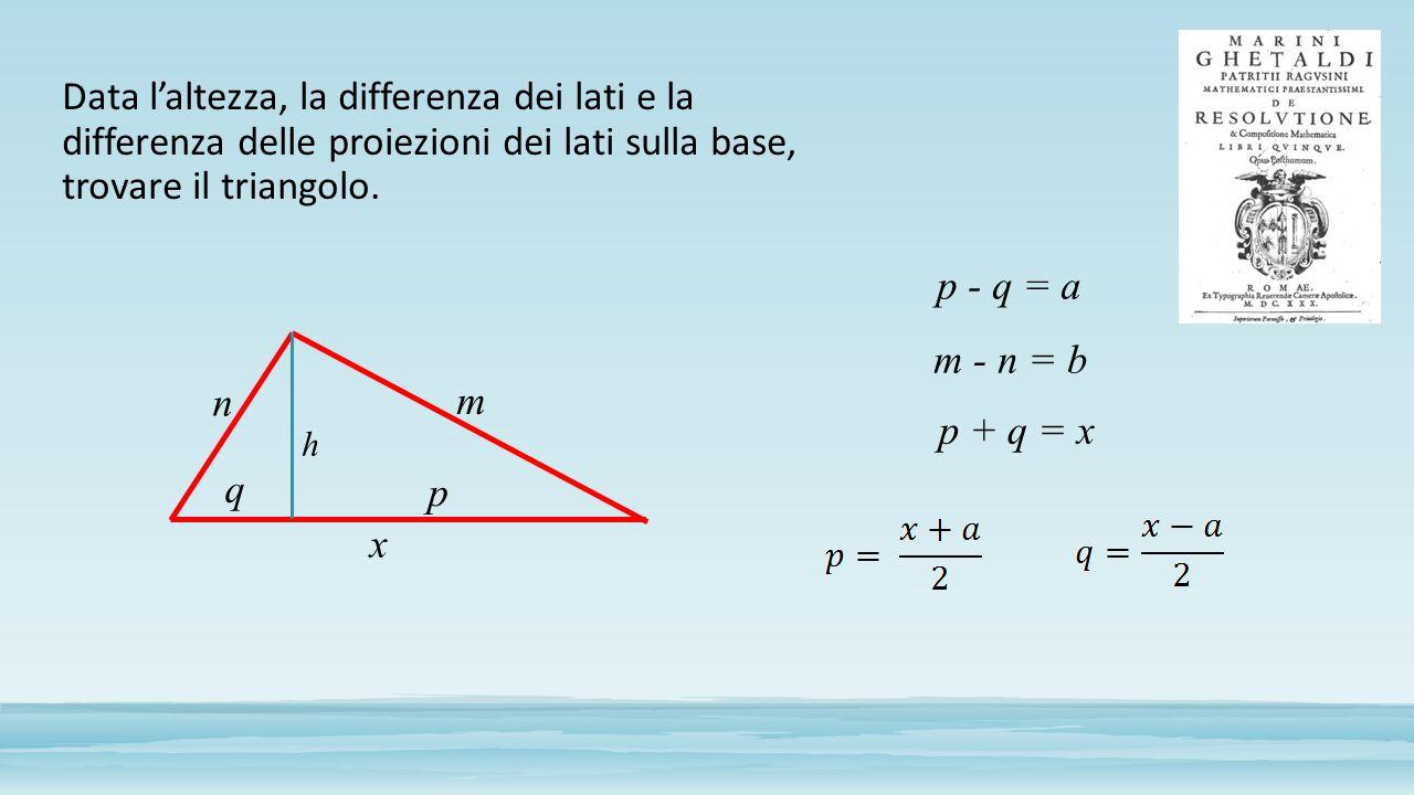 Data l'altezza, la differenza dei lati e la differenza delle proiezioni dei lati sulla base, trovare il triangolo. h p q m n p - q = a m - n = b p + q
