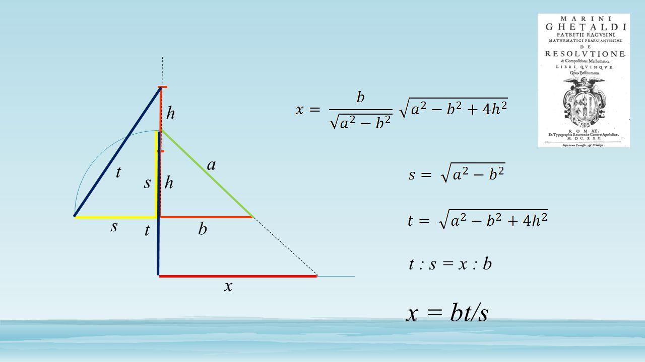 a b h h s t t x s t : s = x : b x = bt/s