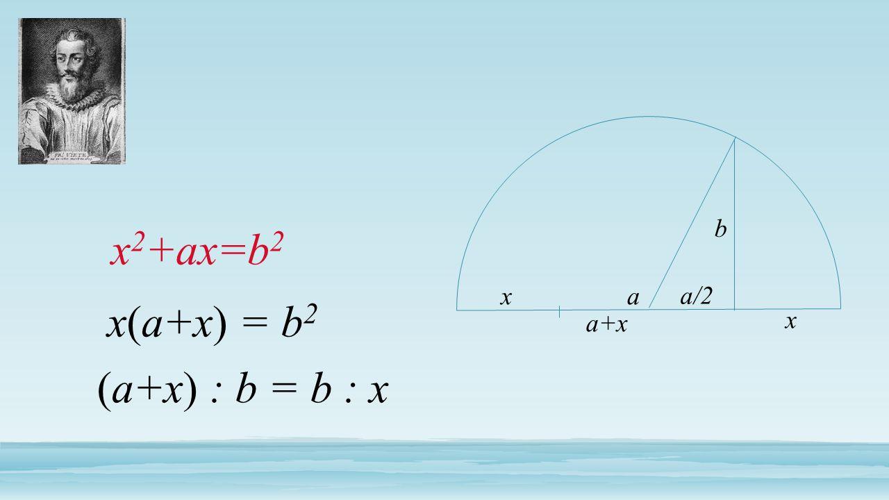 x 2 +ax=b 2 a+x x b x(a+x) = b 2 (a+x) : b = b : x xa a/2