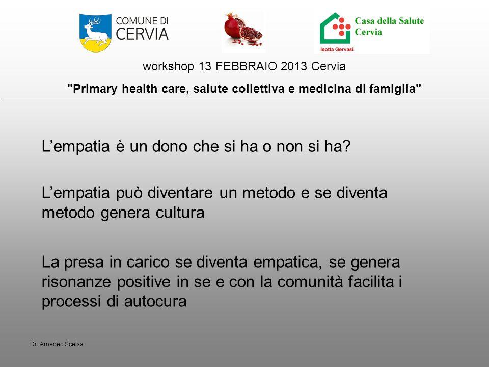 workshop 13 FEBBRAIO 2013 Cervia Primary health care, salute collettiva e medicina di famiglia L'empatia è un dono che si ha o non si ha.