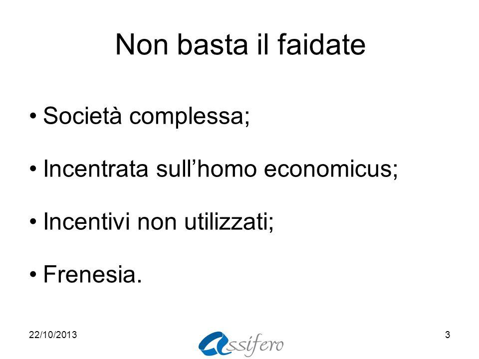 Non basta il faidate Società complessa; Incentrata sull'homo economicus; Incentivi non utilizzati; Frenesia.