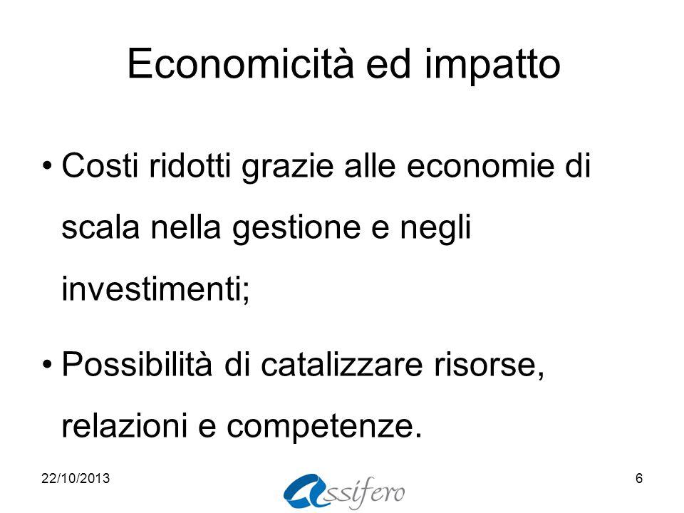 Economicità ed impatto Costi ridotti grazie alle economie di scala nella gestione e negli investimenti; Possibilità di catalizzare risorse, relazioni e competenze.