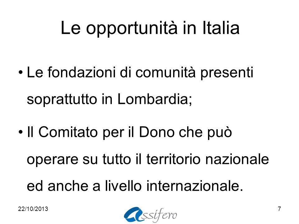 Le opportunità in Italia Le fondazioni di comunità presenti soprattutto in Lombardia; Il Comitato per il Dono che può operare su tutto il territorio nazionale ed anche a livello internazionale.