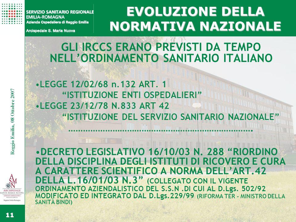 Fare clic per modificare gli stili del testo dello schema Secondo livello Terzo livello Quarto livello Quinto livello Fare clic per modificare lo stile del titolo dello schema Reggio Emilia, 15 Febbraio 2006 11 Reggio Emilia, 08 Ottobre 2007 EVOLUZIONE DELLA NORMATIVA NAZIONALE GLI IRCCS ERANO PREVISTI DA TEMPO NELL'ORDINAMENTO SANITARIO ITALIANO LEGGE 12/02/68 n.132 ART.
