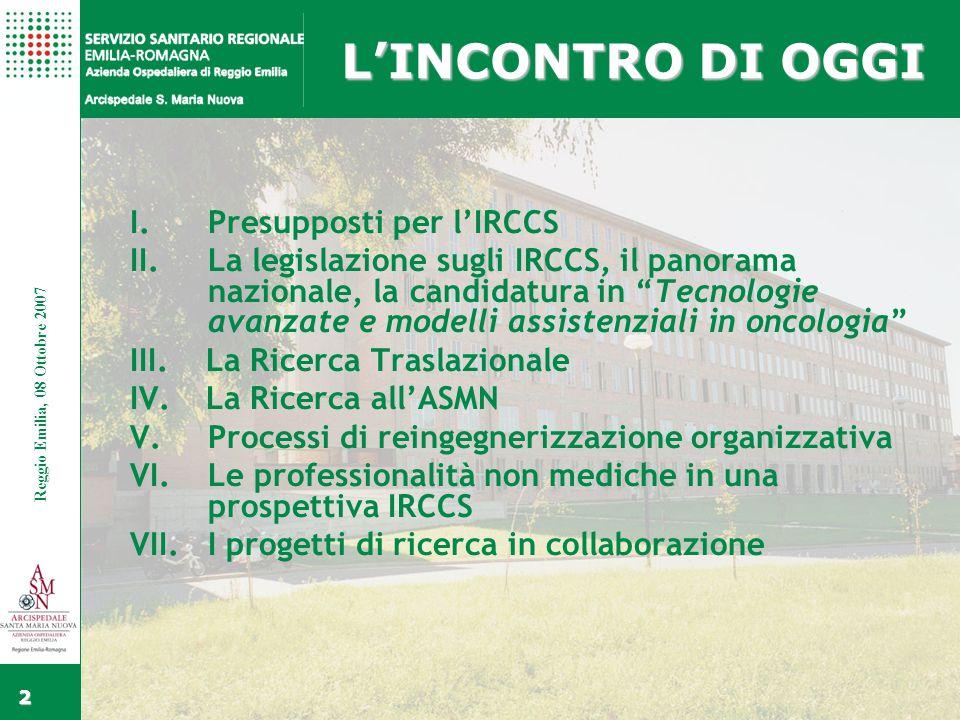 Fare clic per modificare gli stili del testo dello schema Secondo livello Terzo livello Quarto livello Quinto livello Fare clic per modificare lo stile del titolo dello schema Reggio Emilia, 15 Febbraio 2006 3 Reggio Emilia, 08 Ottobre 2007 I.