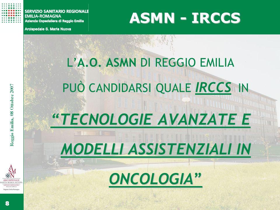 Fare clic per modificare gli stili del testo dello schema Secondo livello Terzo livello Quarto livello Quinto livello Fare clic per modificare lo stile del titolo dello schema Reggio Emilia, 15 Febbraio 2006 8 Reggio Emilia, 08 Ottobre 2007 ASMN - IRCCS L'A.O.