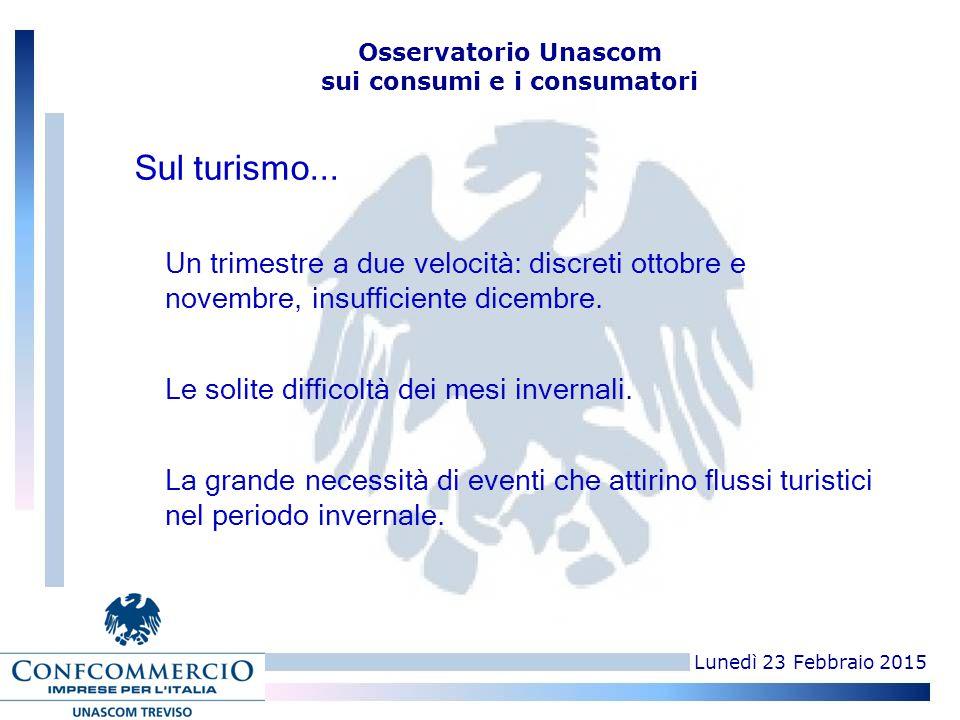 Lunedì 23 Febbraio 2015 Osservatorio Unascom sui consumi e i consumatori Un trimestre a due velocità: discreti ottobre e novembre, insufficiente dicembre.