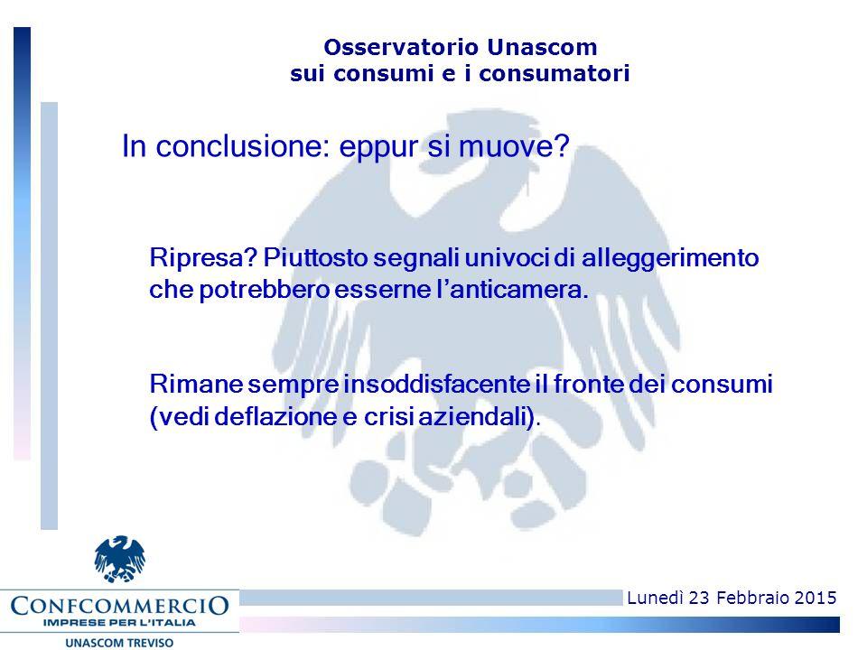 Lunedì 23 Febbraio 2015 Osservatorio Unascom sui consumi e i consumatori Ripresa? Piuttosto segnali univoci di alleggerimento che potrebbero esserne l