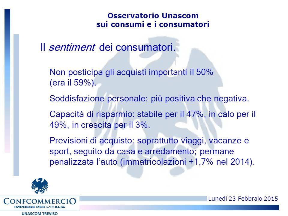 Osservatorio Unascom sui consumi e i consumatori Non posticipa gli acquisti importanti il 50% (era il 59%). Soddisfazione personale: più positiva che