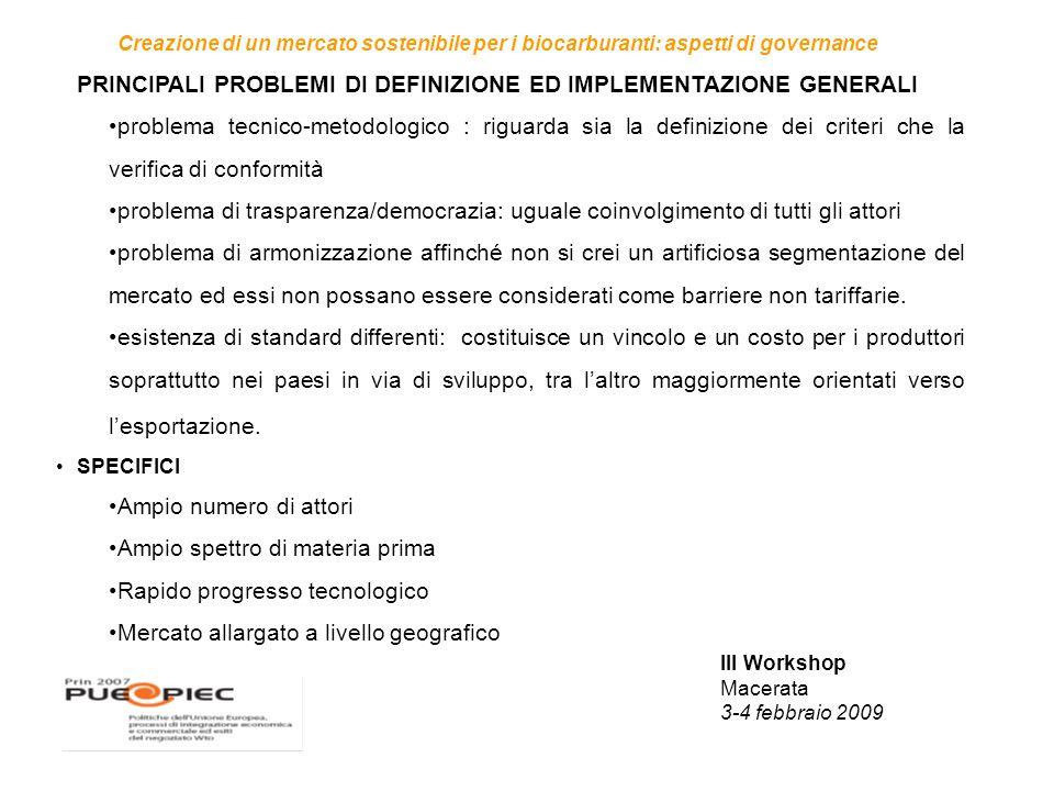 III Workshop Macerata 3-4 febbraio 2009 Creazione di un mercato sostenibile per i biocarburanti: aspetti di governance PRINCIPALI PROBLEMI DI DEFINIZIONE ED IMPLEMENTAZIONE GENERALI problema tecnico-metodologico : riguarda sia la definizione dei criteri che la verifica di conformità problema di trasparenza/democrazia: uguale coinvolgimento di tutti gli attori problema di armonizzazione affinché non si crei un artificiosa segmentazione del mercato ed essi non possano essere considerati come barriere non tariffarie.