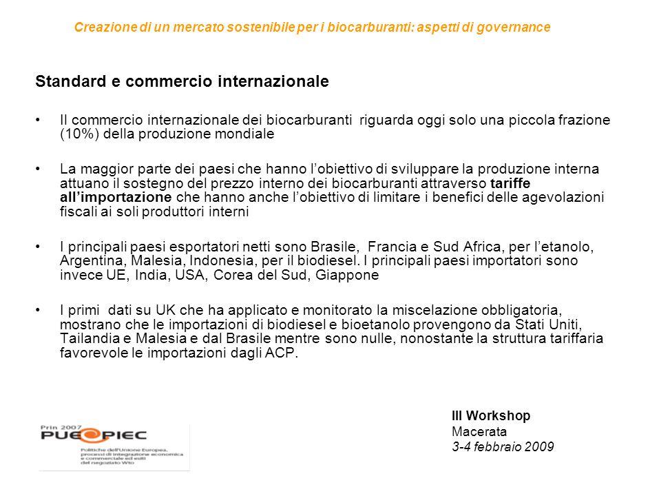 III Workshop Macerata 3-4 febbraio 2009 Creazione di un mercato sostenibile per i biocarburanti: aspetti di governance Standard e commercio internazio