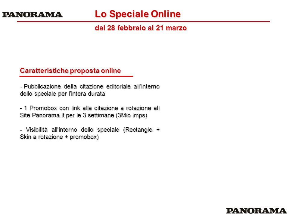 Caratteristiche proposta online - Pubblicazione della citazione editoriale all'interno dello speciale per l'intera durata - 1 Promobox con link alla c