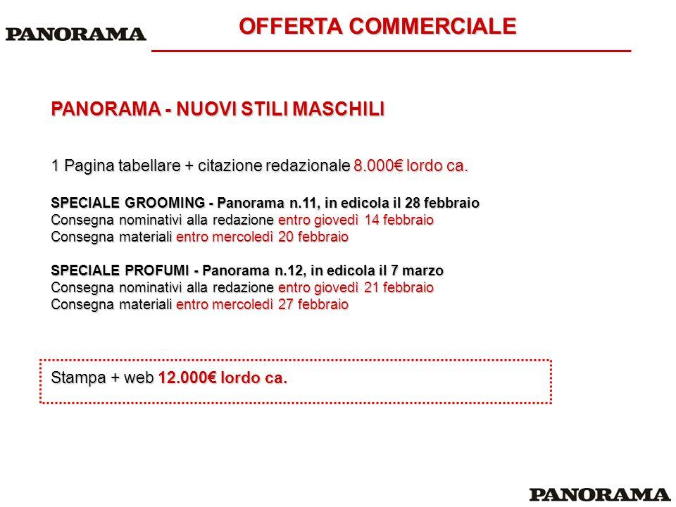 OFFERTA COMMERCIALE PANORAMA - NUOVI STILI MASCHILI 1 Pagina tabellare + citazione redazionale 8.000€ lordo ca. SPECIALE GROOMING - Panorama n.11, in