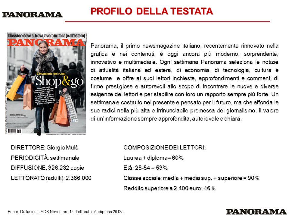 PROFILO DELLA TESTATA Panorama, il primo newsmagazine italiano, recentemente rinnovato nella grafica e nei contenuti, è oggi ancora più moderno, sorpr