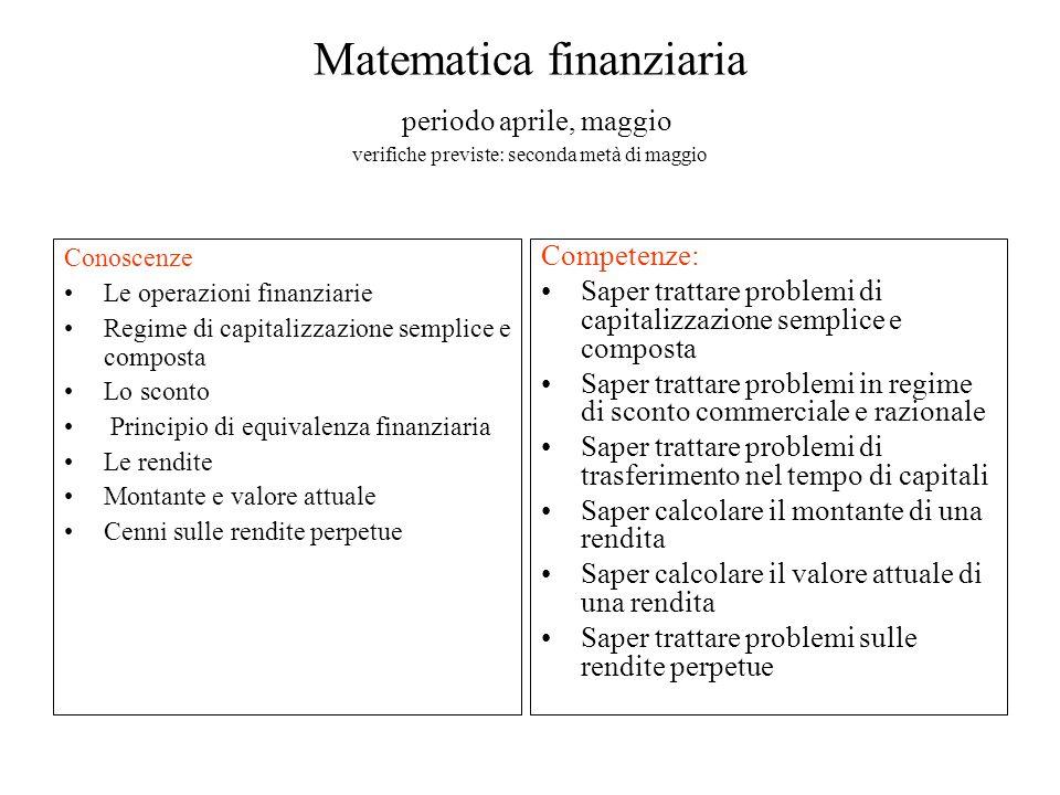 Matematica finanziaria periodo aprile, maggio verifiche previste: seconda metà di maggio Conoscenze Le operazioni finanziarie Regime di capitalizzazio
