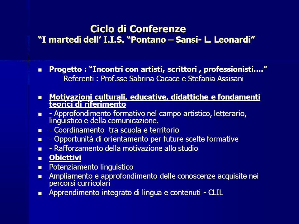 CALENDARIO del ciclo di CONFERENZE I MARTEDÌ DEL LICEO PONTANO SANSI – L.