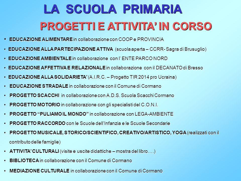 PROGETTI E ATTIVITA' IN CORSO EDUCAZIONE ALIMENTARE in collaborazione con COOP e PROVINCIA EDUCAZIONE ALLA PARTECIPAZIONE PARTECIPAZIONE ATTIVA ATTIVA