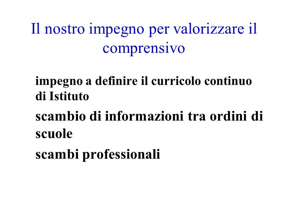 Il nostro impegno per valorizzare il comprensivo impegno a definire il curricolo continuo di Istituto scambio di informazioni tra ordini di scuole sca