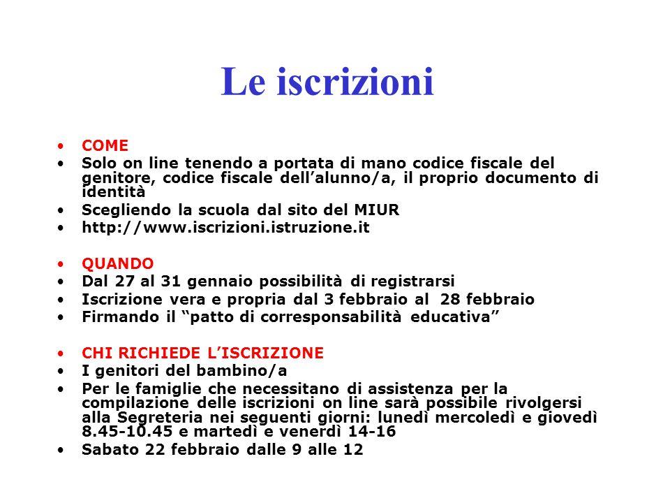 Le iscrizioni COME Solo on line tenendo a portata di mano codice fiscale del genitore, codice fiscale dell'alunno/a, il proprio documento di identità
