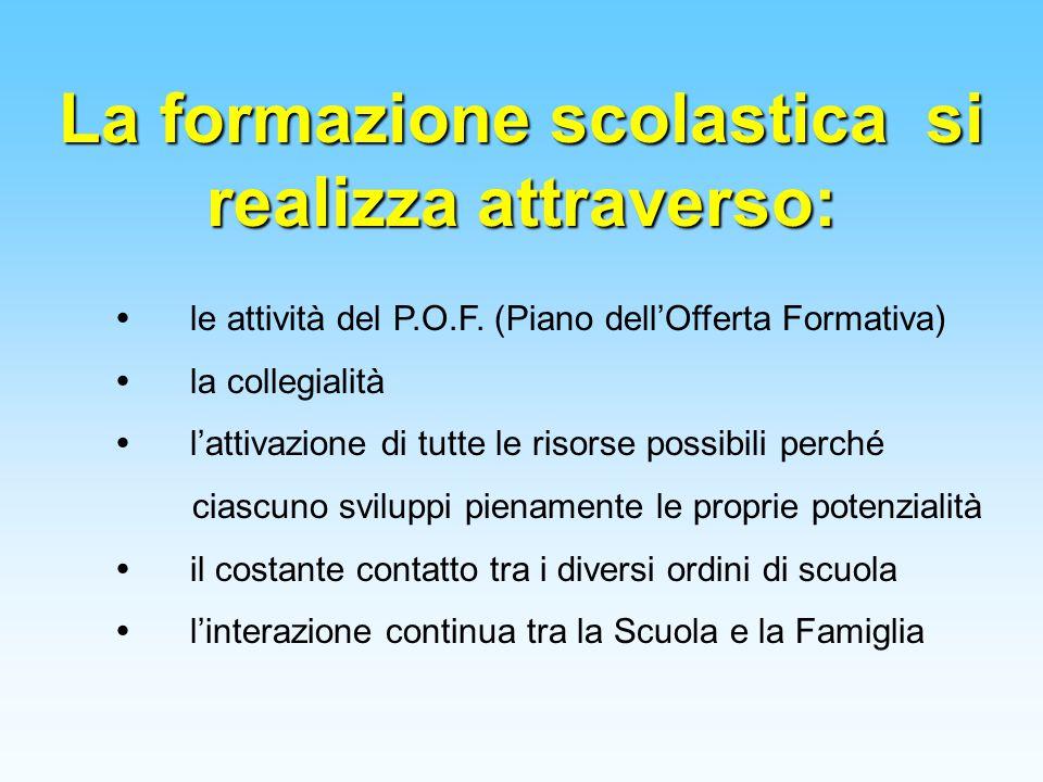 La formazione scolastica si realizza attraverso:  le attività del P.O.F. (Piano dell'Offerta Formativa)  la collegialità  l'attivazione di tutte le